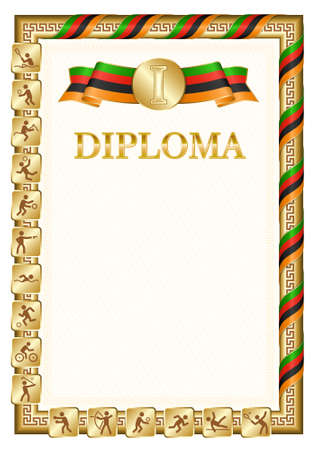 Vertical diploma for first place in a sports competition, golden color with a ribbon the color of the flag of Zambia. Vector image.