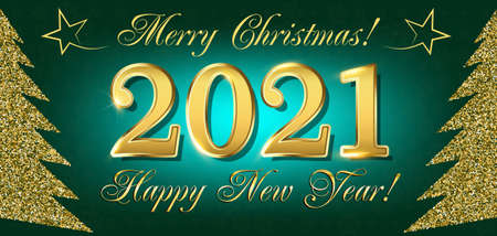2021 Happy New Year Flyer and Greetings Card or Christmas themed invitations with the figure of the New Year tree from the brilliant points. Vector illustration.