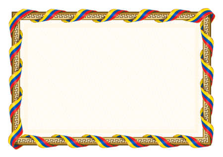 Horizontal frame and border with Ecuador flag, template elements for your certificate and diploma. Vector.