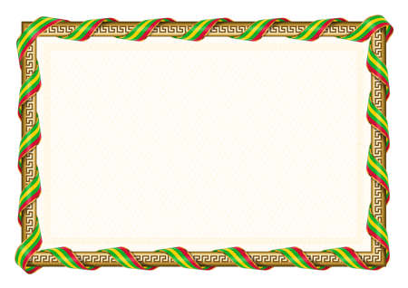 Horizontal frame and border with Sao Tome and Principe flag, template elements for your certificate and diploma. Vector.