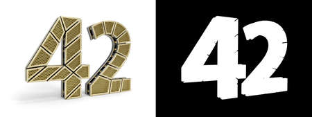 Gold number forty-two (number 42) cut into perforated gold segments with alpha channel and shadow on white background. 3D illustration