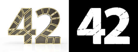 Gold number forty-two (number 42) cut into perforated gold segments with alpha channel and shadow on white background. Front view. 3D illustration
