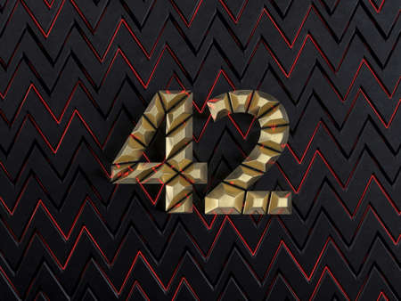 Number forty-two (number 42) made from gold bars on dark background with cuts and glow of red neon lines. Front view. 3D illustration