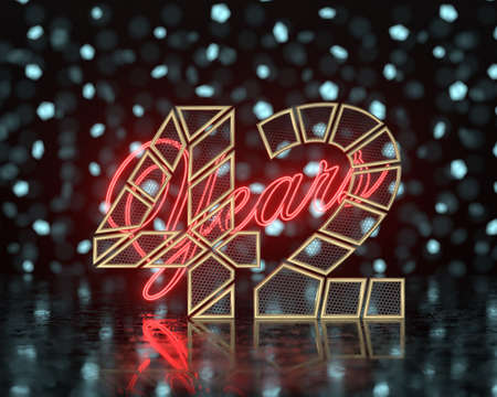 Golden number forty-two (number 42) cut into perforated gold segments with inscription years with a background of glowing blurred shapes. 3D illustration