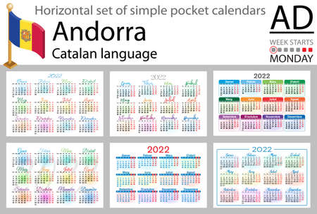 Catalan horizontal set of pocket calendars for 2022 (two thousand twenty two). Week starts Monday. New year. Color simple design. Vector