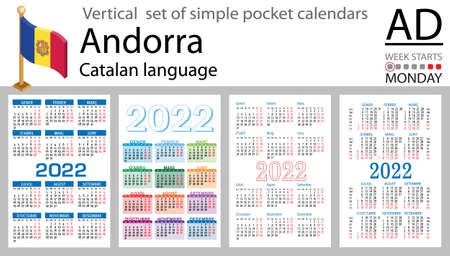 Catalan vertical set of pocket calendars for 2022 (two thousand twenty two). Week starts Monday. New year. Color simple design. Vector