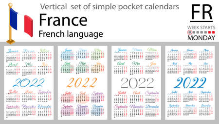French vertical set of pocket calendars for 2022 (two thousand twenty two). Week starts Monday. New year. Color simple design. Vector