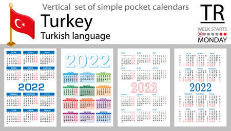 Turkish vertical set of pocket calendars for 2022 (two thousand twenty two). Week starts Monday. New year. Color simple design. Vector