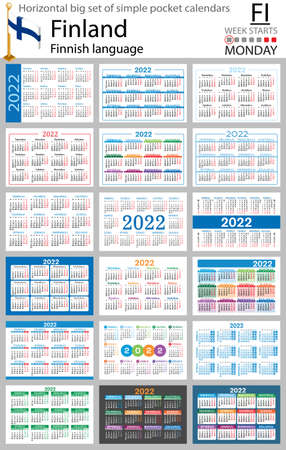 Finnish horizontal Big set of pocket calendars for 2022 (two thousand twenty two). Week starts Monday. New year. Color simple design. Vector