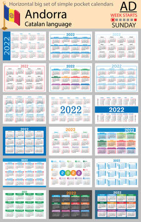 Catalan horizontal Big set of pocket calendars for 2022 (two thousand twenty two). Week starts Sunday. New year. Color simple design. Vector
