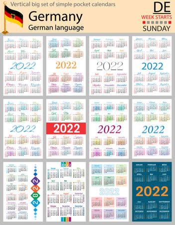 German vertical Big set of pocket calendars for 2022 (two thousand twenty two). Week starts Sunday. New year. Color simple design. Vector