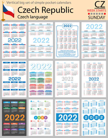 Czech vertical Big set of pocket calendars for 2022 (two thousand twenty two). Week starts Sunday. New year. Color simple design. Vector