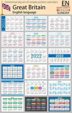 English horizontal Big set of pocket calendars for 2022 (two thousand twenty two). Week starts Sunday. New year. Color simple design. Vector