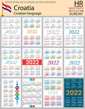 Croatian vertical Big set of pocket calendars for 2022 (two thousand twenty two). Week starts Sunday. New year. Color simple design. Vector