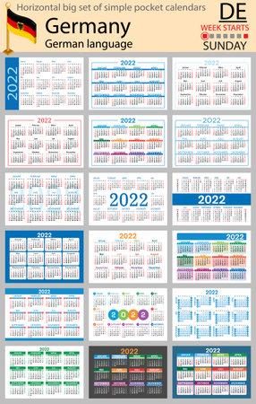 German horizontal Big set of pocket calendars for 2022 (two thousand twenty two). Week starts Sunday. New year. Color simple design. Vector 矢量图像