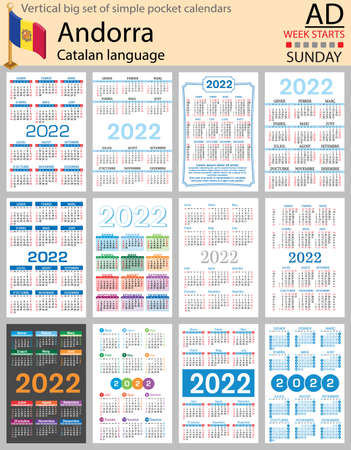 Catalan vertical Big set of pocket calendars for 2022 (two thousand twenty two). Week starts Sunday. New year. Color simple design. Vector