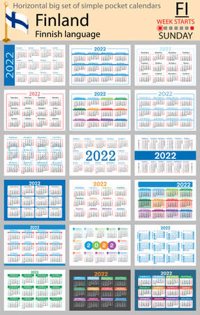 Finnish horizontal Big set of pocket calendars for 2022 (two thousand twenty two). Week starts Sunday. New year. Color simple design. Vector