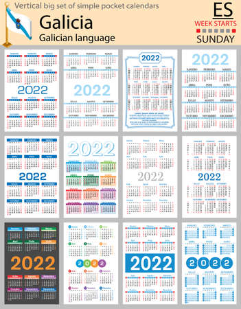 Galician vertical Big set of pocket calendars for 2022 (two thousand twenty two). Week starts Sunday. New year. Color simple design. Vector