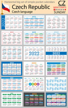 Czech horizontal Big set of pocket calendars for 2022 (two thousand twenty two). Week starts Sunday. New year. Color simple design. Vector