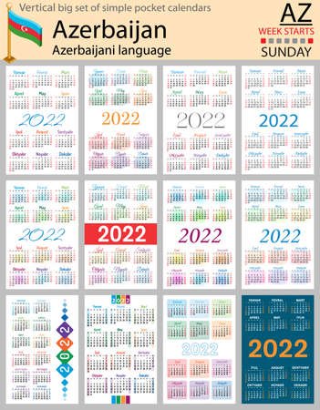 Azerbaijani vertical Big set of pocket calendars for 2022 (two thousand twenty two). Week starts Sunday. New year. Color simple design. Vector 矢量图像