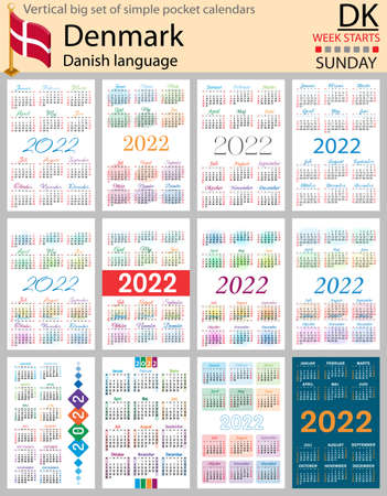 Denmark vertical Big set of pocket calendars for 2022 (two thousand twenty two). Week starts Sunday. New year. Color simple design. Vector