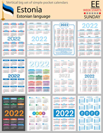 Estonian vertical Big set of pocket calendars for 2022 (two thousand twenty two). Week starts Sunday. New year. Color simple design. Vector