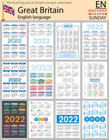English vertical Big set of pocket calendars for 2022 (two thousand twenty two). Week starts Sunday. New year. Color simple design. Vector 矢量图像