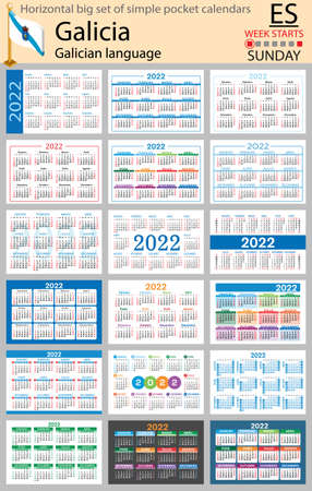 Galician horizontal Big set of pocket calendars for 2022 (two thousand twenty two). Week starts Sunday. New year. Color simple design. Vector