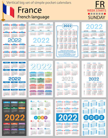 French vertical Big set of pocket calendars for 2022 (two thousand twenty two). Week starts Sunday. New year. Color simple design. Vector