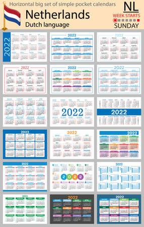 Dutch horizontal Big set of pocket calendars for 2022 (two thousand twenty two). Week starts Sunday. New year. Color simple design. Vector 矢量图像