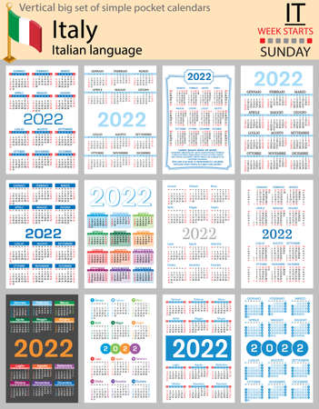 Italian vertical Big set of pocket calendars for 2022 (two thousand twenty two). Week starts Sunday. New year. Color simple design. Vector