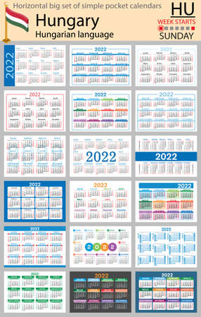 Hungarian horizontal Big set of pocket calendars for 2022 (two thousand twenty two). Week starts Sunday. New year. Color simple design. Vector