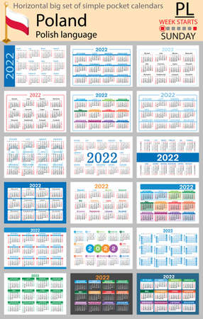 Polish horizontal Big set of pocket calendars for 2022 (two thousand twenty two). Week starts Sunday. New year. Color simple design. Vector 矢量图像