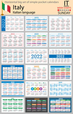 Italian horizontal Big set of pocket calendars for 2022 (two thousand twenty two). Week starts Sunday. New year. Color simple design. Vector