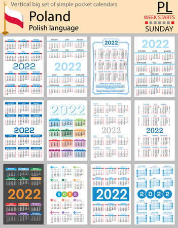 Polish vertical Big set of pocket calendars for 2022 (two thousand twenty two). Week starts Sunday. New year. Color simple design. Vector