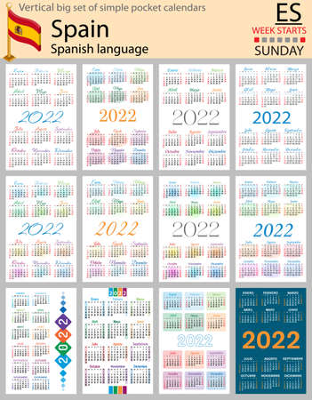 Spanish vertical Big set of pocket calendars for 2022 (two thousand twenty two). Week starts Sunday. New year. Color simple design. Vector 矢量图像