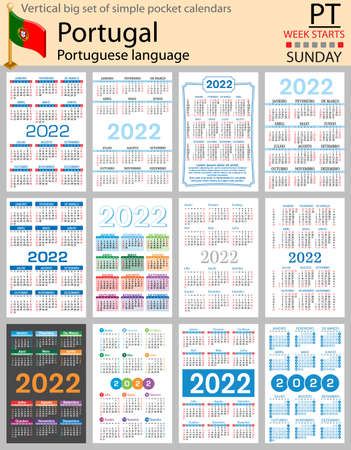 Portuguese vertical Big set of pocket calendars for 2022 (two thousand twenty two). Week starts Sunday. New year. Color simple design. Vector 矢量图像