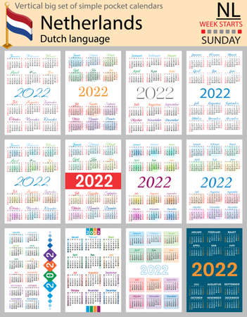 Dutch vertical Big set of pocket calendars for 2022 (two thousand twenty two). Week starts Sunday. New year. Color simple design. Vector