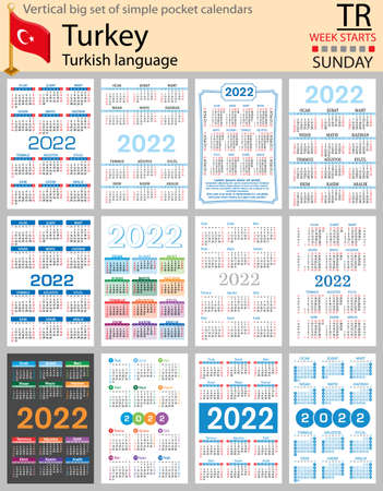 Turkish vertical Big set of pocket calendars for 2022 (two thousand twenty two). Week starts Sunday. New year. Color simple design. Vector