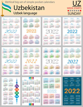 Uzbek vertical Big set of pocket calendars for 2022 (two thousand twenty two). Week starts Sunday. New year. Color simple design. Vector