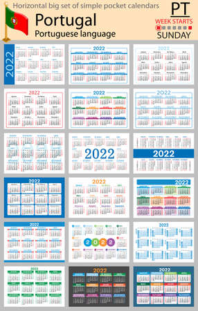 Portuguese horizontal Big set of pocket calendars for 2022 (two thousand twenty two). Week starts Sunday. New year. Color simple design. Vector