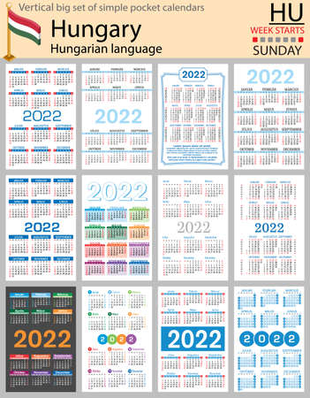 Hungarian vertical Big set of pocket calendars for 2022 (two thousand twenty two). Week starts Sunday. New year. Color simple design. Vector