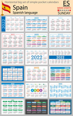 Spanish horizontal Big set of pocket calendars for 2022 (two thousand twenty two). Week starts Sunday. New year. Color simple design. Vector 矢量图像