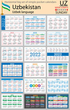 Uzbek horizontal Big set of pocket calendars for 2022 (two thousand twenty two). Week starts Sunday. New year. Color simple design. Vector