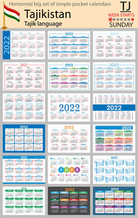 Tajik horizontal Big set of pocket calendars for 2022 (two thousand twenty two). Week starts Sunday. New year. Color simple design. Vector