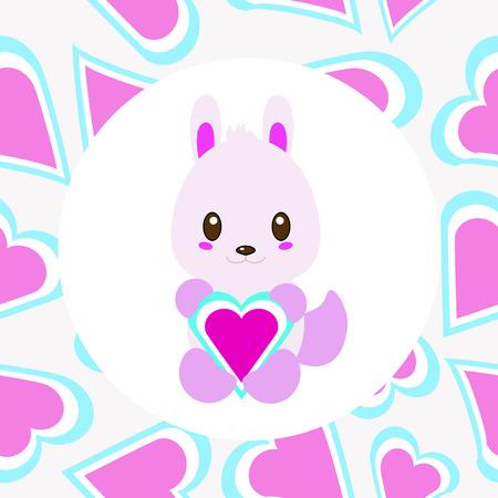 pink rabbit: Valentine illustration with cute pink rabbit with love suitable for Valentine day card