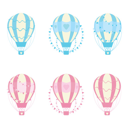 hot couple: Valentines day illustration with cute blue and pink hot air balloons suitable for Valentine sticker set and clip art Illustration