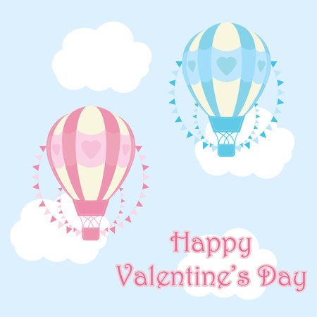 hot couple: Valentines day illustration with cute blue and pink hot air balloon on sky background suitable for Valentine greeting card, postcard, and wallpaper