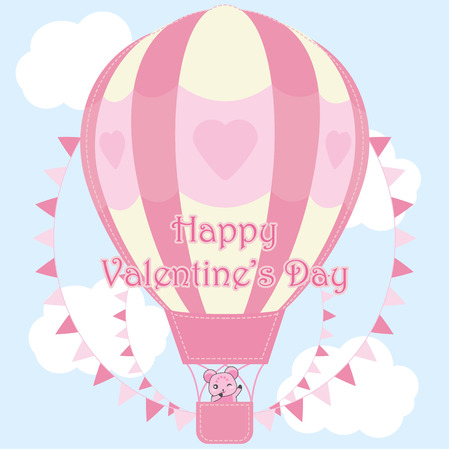 hot couple: Valentines day illustration with cute bear in pink hot air balloon on sky background suitable for Valentine greeting card, postcard, and wallpaper Illustration