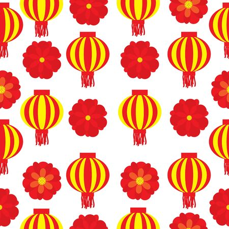 Seamless patterm of chinese new year with lampion and red flowers on white  background vector cartoon suitable for new year wallpaper design, fabric clothes design, and scrap paper
